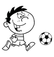 Cartoon child playing soccer vector image