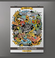 cartoon hand drawn doodles traveling poster design vector image vector image