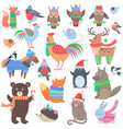 christmas forest animals set retro fairy elements vector image vector image