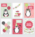 collection of birthday cards with cute penguins vector image vector image