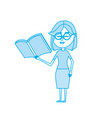 contour woman teacher with school tool in the hand vector image vector image