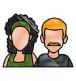 couple of friends cartoon vector image vector image