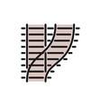 curved railways railroad tracks train roads flat vector image