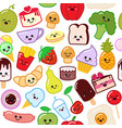 cute funny sweet seamless pattern smiley food in vector image vector image
