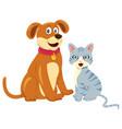 dog cat sitting together vector image vector image