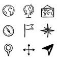 doodle geography icons set vector image vector image