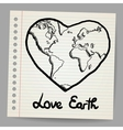 Earth Love doodle vector image vector image