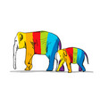 elephant mother with child striped sketch for vector image vector image
