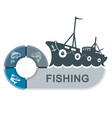 fishing trawler with infographics vector image vector image