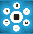 flat icon technology set of mainframe cpu vector image vector image