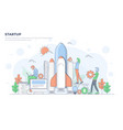 flat line modern concept - startup vector image vector image