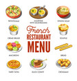 french restaurant menu with traditional national vector image vector image