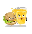 Funny burger and lemonade cartoon characters vector image