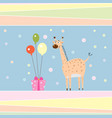 funny cartoon giraffe with gift and balloons vector image vector image