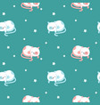 funny sleeping cats seamless pattern vector image