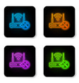 glowing neon router wi-fi with screwdriver and vector image vector image