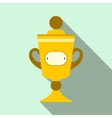 Golden trophy flat icon vector image