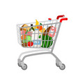 grocery shopping cart vector image vector image
