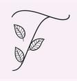 handwritten letter t monogram or logo brand vector image vector image