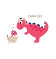 happy dinosaur with baby dino