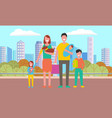 happy family and children at cityscape vector image vector image