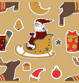 holiday for christmas deer moon santa claus vector image