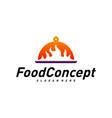 hot food logo concept fast cooking logo design vector image vector image