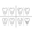icons of tooth treatment reconstruction vector image vector image