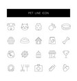 line icons set pet pack vector image vector image