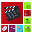 making a movie flat icons in set collection for vector image