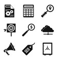 market research icons set simple style vector image vector image