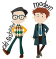 Men wearing old-fashioned and modern clothes vector image