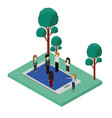 mini people with forest scene and smartphone vector image