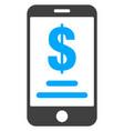 mobile dollar account flat icon symbol vector image