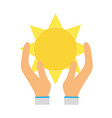 natural sun and normal weather icon in the hands vector image