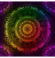 Ornate rainbow neon mandala vector image