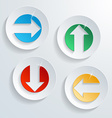 paper modern arrow button set with shadow effect vector image