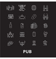 pub editable line icons set on black vector image vector image