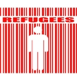 refugees word and human icon in barcode vector image