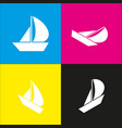 sail boat sign white icon with isometric vector image vector image