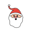 santa claus head with beard and hat christmas vector image