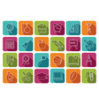 school icons on multicolored buttons vector image