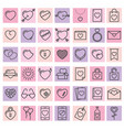 set 42 simple icons with heart for valentines vector image vector image