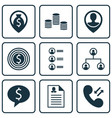set of 9 management icons includes business deal vector image vector image