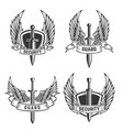 set of security emblems with swords and wings vector image vector image