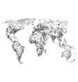 sketch earth world map hand drawn continents vector image