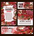 sketch meat farm sausages product posters vector image vector image
