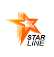 star line logo template in orange star concept vector image