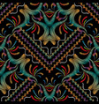 striped embroidery floral seamless pattern vector image