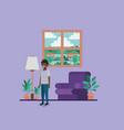 teenager black boy in livingroom vector image